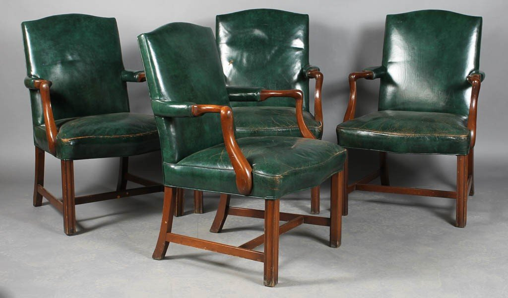 13: SET 4 LABELED KITTINGER LEATHER ARM CHAIRS