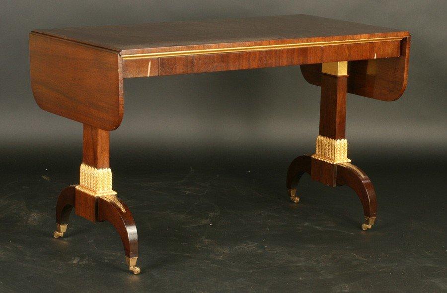 14: LABELED ARTHUR BRETT & SONS SOFA TABLE DROP LEAF