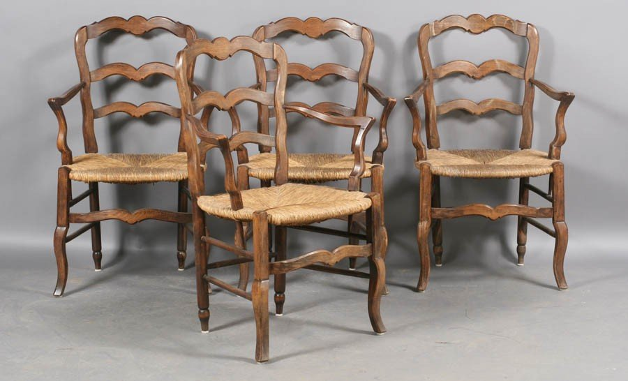 101: SET 10 FRENCH COUNTRY LADDER BACK ARM CHAIRS - 3