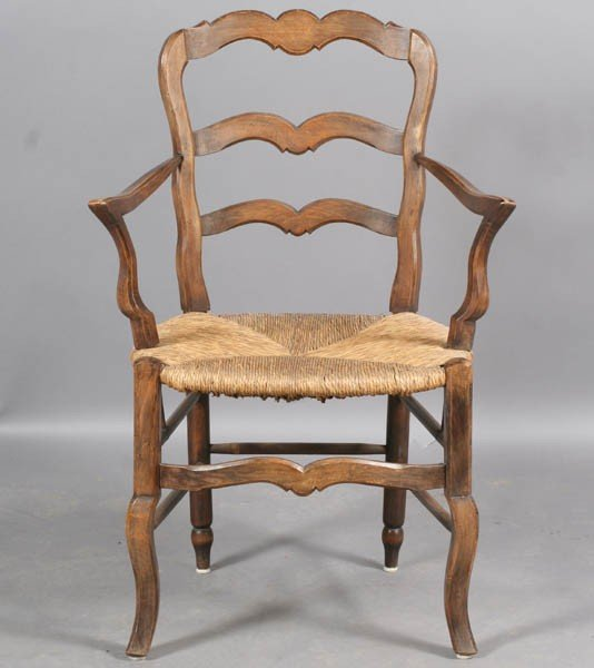 101: SET 10 FRENCH COUNTRY LADDER BACK ARM CHAIRS - 4