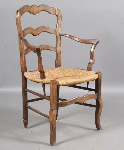 101: SET 10 FRENCH COUNTRY LADDER BACK ARM CHAIRS - 5