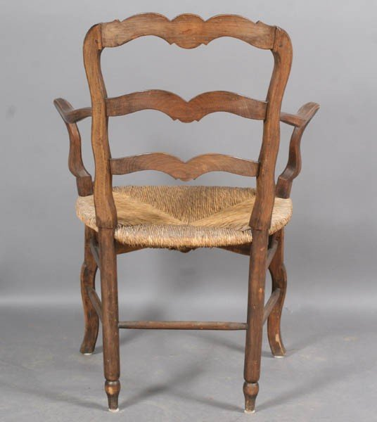 101: SET 10 FRENCH COUNTRY LADDER BACK ARM CHAIRS - 8