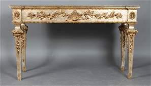 PAIR ITALIAN SILVER GILT CONSOLE TABLES