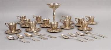 640 33 PC GROUP 8 COIN SILVER 12 DISHES DEMITASSE