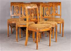 163A: Set of six French Directoire style dining chairs