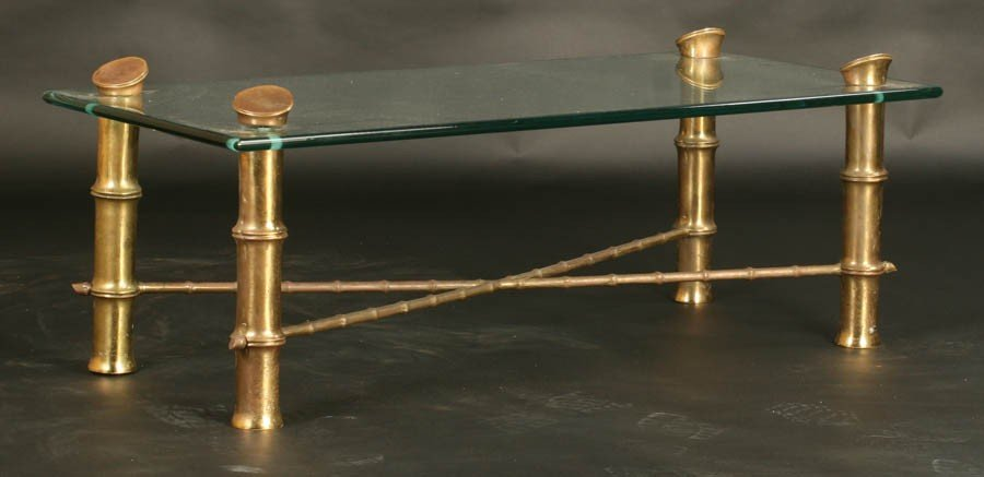2: MODERN OVER-SCALED BRONZE FAUX BAMBOO TABLE