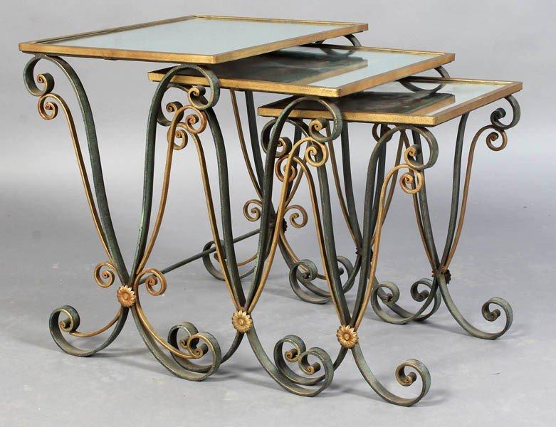 5: RAYMOND SUBES STYLE VINTAGE IRON NESTING TABLES