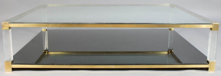 9: LARGE  1970 BRASS LUCITE COFFEE  TABLE