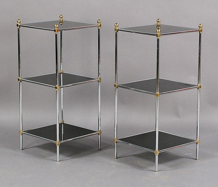 21: Pair of chrome and glass tables circa 19