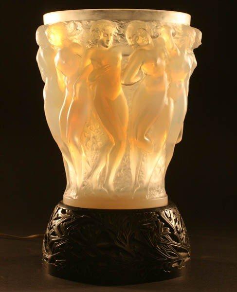582: SIGNED LALIQUE BACCHANTES VASE OPALESCENT  GLASS
