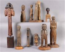 651: 9 PC LOT: COLLECTION CARVED WOOD FIGURES