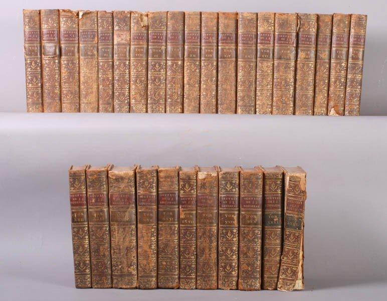 670: 18TH C. ANTIQUE BOOKS SET ROUSSEAU WORKS 31 VOL.