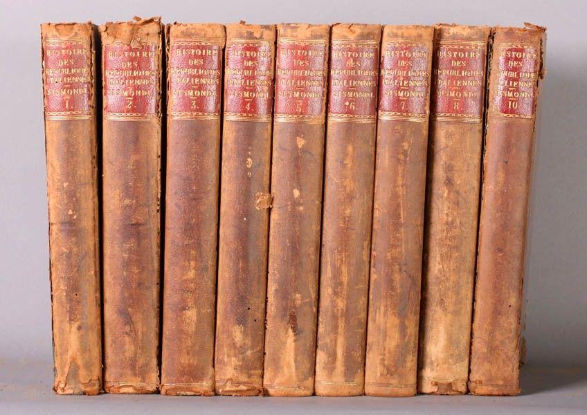 672: SET ANTIQUE BOOKS 9 VOL. SISMONDI HISTORY