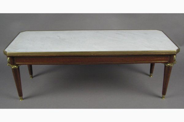 MAHOGANY  MARBLE  COFFEE TABLE JANSEN  ATTR.