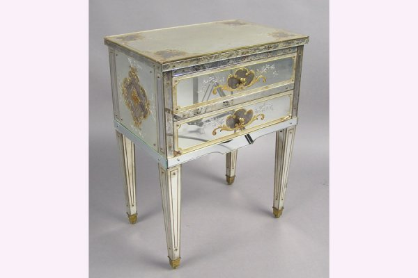 50111004: PETITE MIRRORED TWO DRAWER COMMODE CIRCA 1940