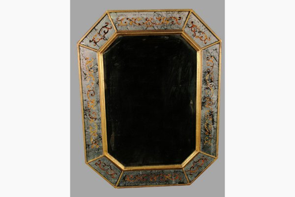 50111005: OCTAGONAL BEVELED MIRROR WITH IGLOMESE MIRROR