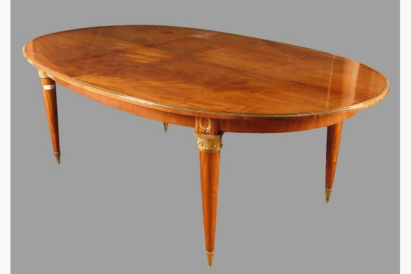 50111007: SLEEK JANSEN MAHOGANY DINING ROOM TABLE WITH