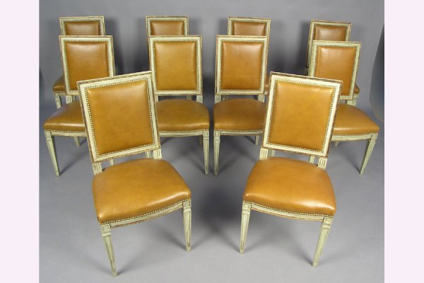 50111008: TEN JANSEN POLYCHROMED DINING ROOM CHAIRS IN