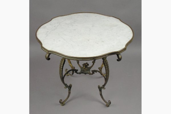 50111009: NICE BRONZE BOUND MARBLE TOP COFFEE TABLE RES