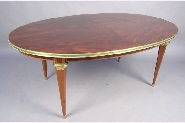 JANSEN MAHOGANY BRASS BOUND DINING  TABLE W