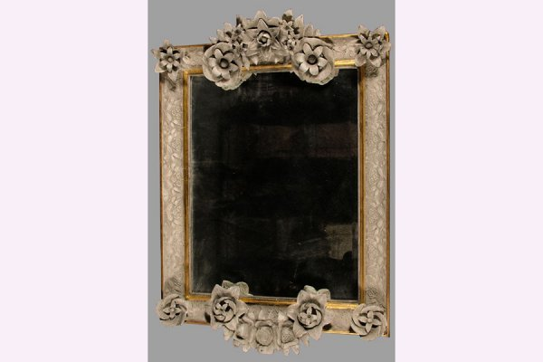 50111011: PAINTED, CARVED AND GILTWOOD MIRROR CIRCA 192
