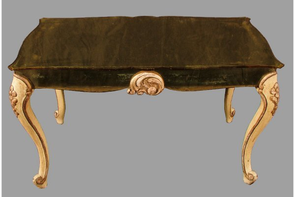 LOUIS XV  POLYCHROMED  YELLOWED MIRRORED COFFEE TABLE