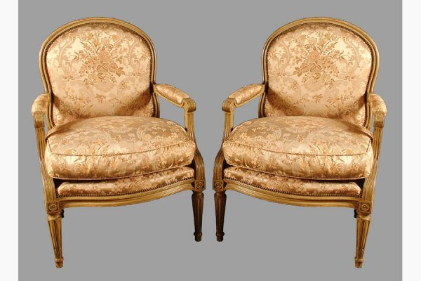 50111017: PAIR OF JANSEN PAINTED OPEN ARM CHAIRS IN THE