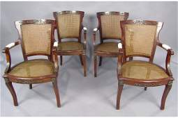 50111058 LOT OF FOUR MAHOGANY BRONZE MOUNTED ARM CHAIR