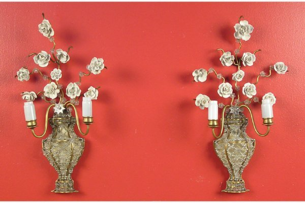 50111734: PAIR OF BRONZE AND BEADED URN FORM SCONCES WI