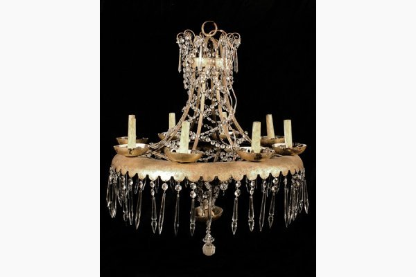 50111735: GILT IRON 8 LIGHT CHANDELIER ATTRIBUTED TO JA