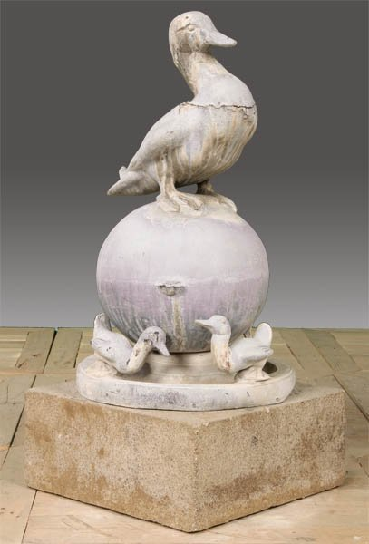 11: ANTIQUE LEAD FOUNTAIN DUCKLINGS BASIN