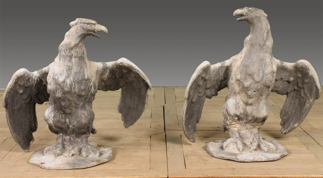 15: PAIR 19TH CENT. LEAD SPREAD WING ENTRY EAGLES