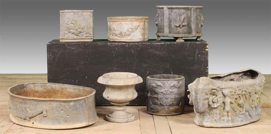16: 6 PC LOT GARDEN LEAD PLANTERS MARBLE URN