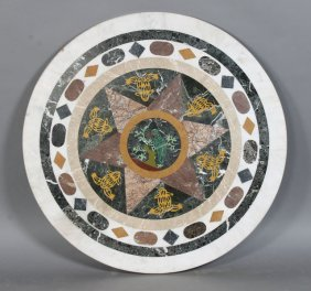 INLAID PETRA DURA STYLIZED MARBLE TABLE TOP