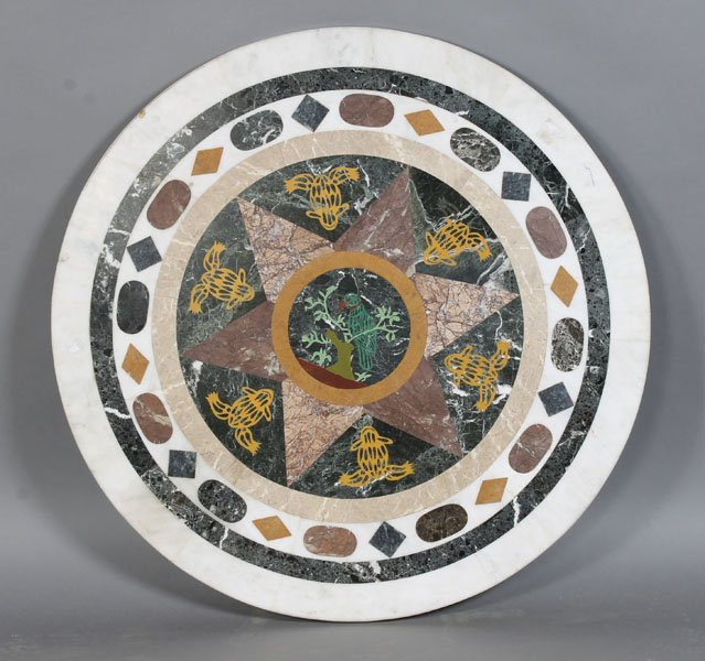 25: INLAID PETRA DURA STYLIZED MARBLE TABLE TOP