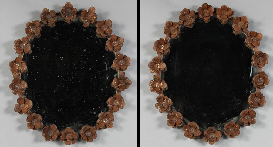26: PAIR WROUGHT IRON FLORAL FRAME MIRRORS