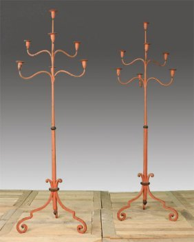 PAIR PAINTED WROUGHT IRON STANDING CANDELABRA