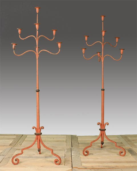 31: PAIR PAINTED WROUGHT IRON STANDING CANDELABRA
