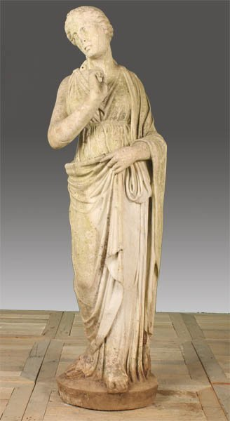 32: 19TH CENT. ITALIAN CARVED MARBLE STANDING WOMAN