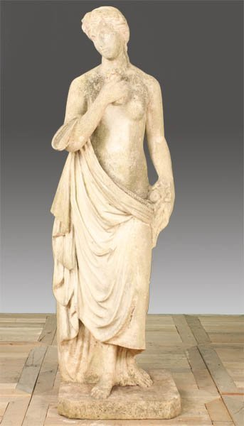 33: 19TH CENT. ITALIAN CARVED MARBLE FIGURE WOMAN