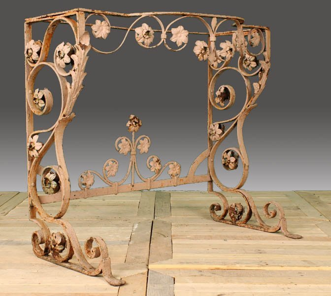 38: FRENCH WROUGHT IRON GARDEN CONSOLE TABLE BASE