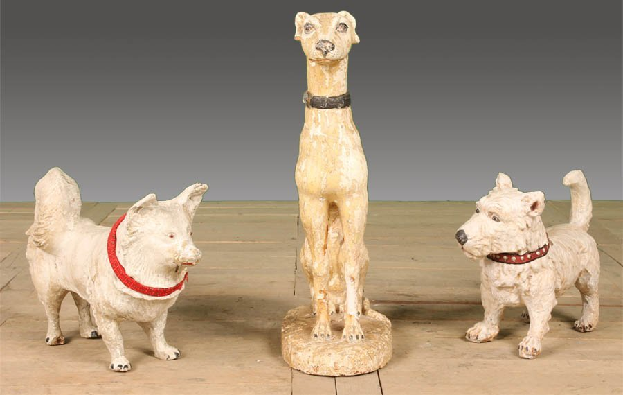 45: 2 DOGS SEATED TERRACOTTA WHIPPET CAST STONE