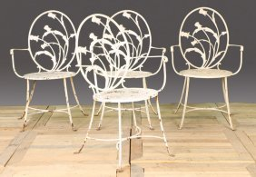 SET 4 STYLISH WROUGHT IRON GARDEN ARM CHAIRS