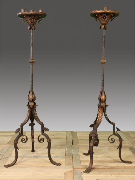 71: PAIR WROUGHT IRON STANDING CANDELABRA 4 CUPS