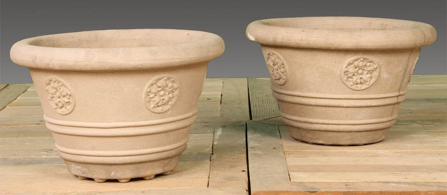 75: PAIR LABELED GALLOWAY TERRACOTTA GARDEN PLANTERS