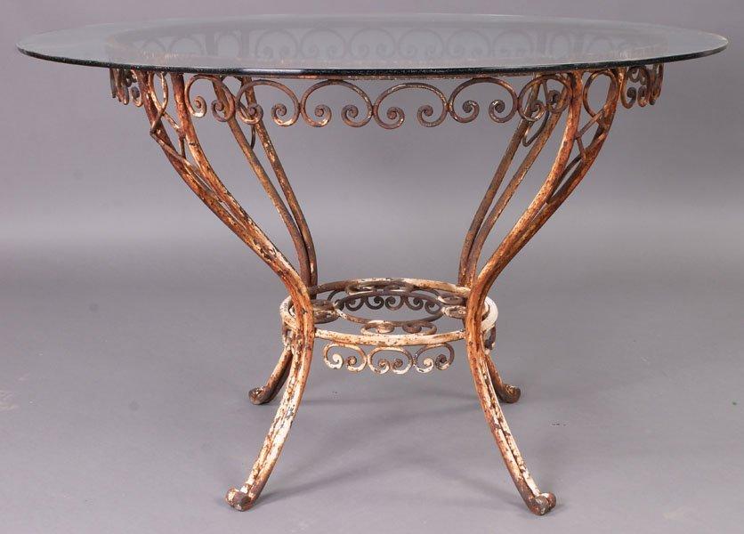 78: VINTAGE WROUGHT IRON GARDEN TABLE ROUND GLASS TOP