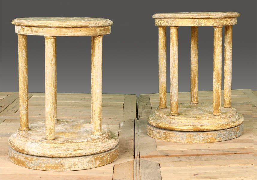 82: PAIR CLASSICAL STYLE WOOD PEDESTALS PAINTED