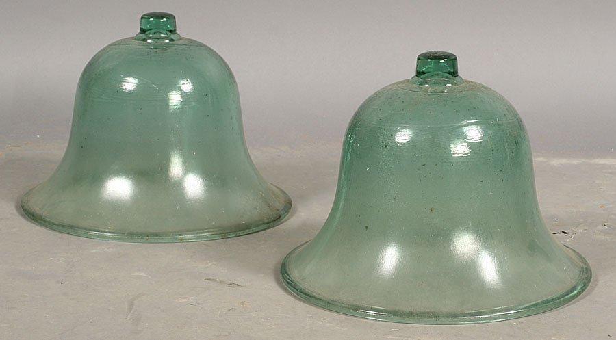 83: TWO BLWON GLASS BELL SHAPED GARDEN CLOCHE