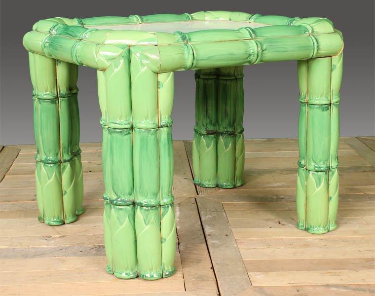 85: GLAZED CERAMIC WOOD FAUX BAMBOO SIDE TABLE