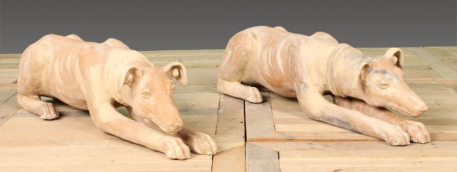 88: PAIR TERRACOTTA RECUMBENT DOGS GARDEN STATUES